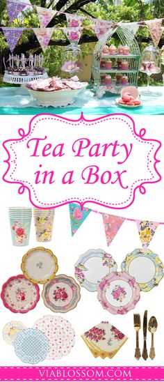 No guess work! Celebrate a scrumptious Tea Party for 12 guests with our Tea Party in a Box! This party pack includes our favorite Tea Party Supplies for easy shopping at a lower cost. #teapartyideas #babyshowerteaparty #teapartydecorations #girlbirthday #teapartybirthday #bridalshower