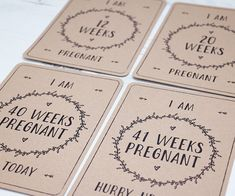 Pregnancy Milestone Cards x36 Kraft Card by BlossomStudioUK