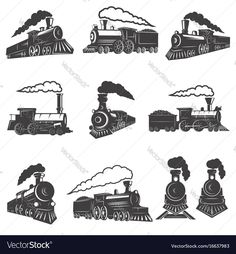 Set of vintage trains isolated on white background. Design element for label, brand mark, sign, poster. Dog Vector, Free Vector Art, Free Vector Images, Train Vector, Train Sketch, Train Drawing, Fish Icon, Background Design Vector, Presentation Design Template
