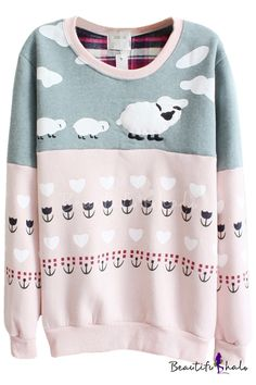 Color Block Sheep Pattern Long Sleeve Sweatshirt (what a cute ass sweater AHHhh)