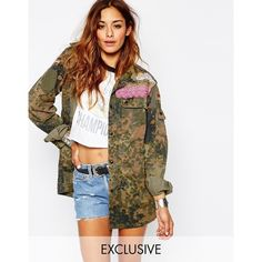 Milk It Vintage Festival Military Jacket in Camo with Embelisment (455 NOK) ❤ liked on Polyvore featuring outerwear, jackets, khaki, vintage military jacket, military style jacket, lace jacket, straight jacket and white camo jacket