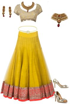 Dress: Manish Malhotra #golden yellow jewelry : Antique kundan necklace and waist band footware : badgley mischka #myfashioncart
