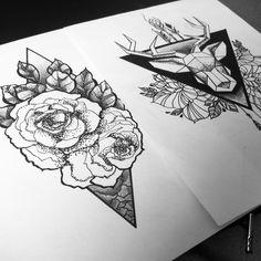 tattoo idea, roses, deer, arrows, triangle