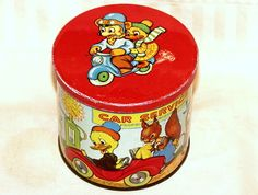 Blue Bird Funny Animals Bear Duck Squirrel Toffee Candy Tin 1950s | eBay