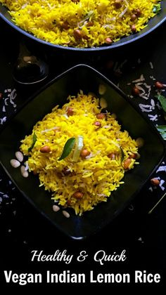 Healthy and Quick Vegan Indian Lemon Rice : Famous Indian rice recipe for it& simple, tangy and distinctive taste. My recipe has coconut too. Side Dish Recipes, Rice Recipes, Gluten Free Recipes, Cooking Recipes, Side Dishes, Fun Recipes, Pasta Recipes, Salad Recipes, Vegan Indian Recipes
