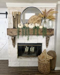 Fall Decor Home Tour Inspiration And Ideas * Hip & Humble Style . fall mantel in. - Fall Decor Home Tour Inspiration And Ideas * Hip & Humble Style . fall mantel inspirations, how to - French Country Fireplace, Rustic French Country, French Country Decorating, Rustic Country Decor, French Farmhouse, Fall Mantle Decor, Fall Home Decor, Autumn Home, Mantel Ideas