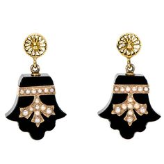 Antique Black Onyx Pearl and 14 Karat Yellow Gold Earrings | From a unique collection of vintage drop earrings at https://www.1stdibs.com/jewelry/earrings/drop-earrings/