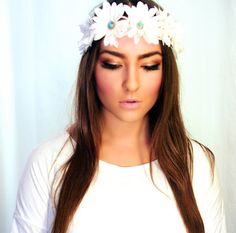 Turquoise Gem Embellished Daisy Flower Crown- Daisy Headband, Boho Flower Crown, Daisy Halo, EDC, Rave Wear, Hippie Flower Headband via Etsy