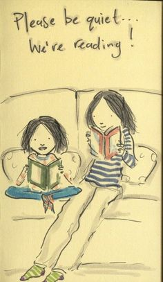 I love our reading time - (amandaonwriting:  Reading Sketch)