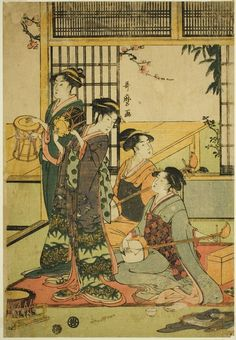 Strings and drums: Kitagawa Utamaro's Drums and Shamisen, no date (mid to late 18th to early 19th century). Color woodblock print; aiban. In the collection of the Art Institute of Chicago.