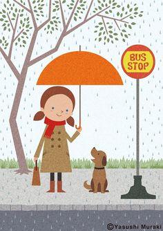 Illustration - Shelter from the rain/Photoshop on Behance