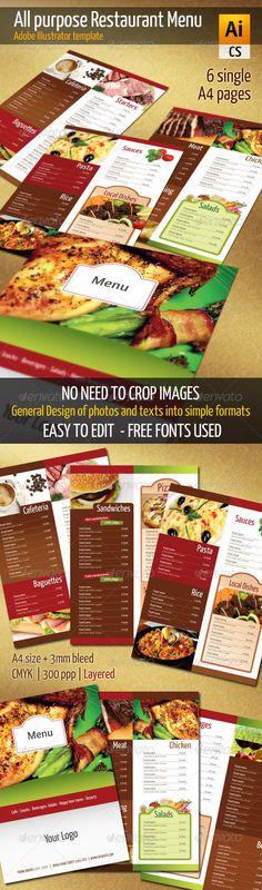 Elegant TriFold Restaurant Menu Template Restaurant menu - menu flyer template