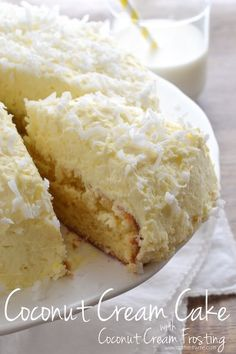 An easy recipe for Coconut Cream Cake topped with a whipped Coconut Cream Frosting -- a little slice of heaven!