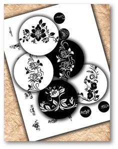 Black & White Floral 1 inch Circles DOWNLOAD
