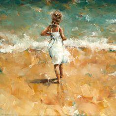 "Dorus Brekelmans ""Along the Coast"" Painting People, Figure Painting, Portraits, Portrait Art, Acrylic Painting For Kids, Cartoon Painting, Paintings I Love, Beach Paintings, Sea Art"