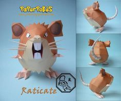 paperpokes | Pokémon Papercraft - Rattata and Raticate - by Paper Pokés