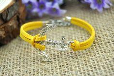 anchor charm cuff braceletsilvery anchoryellow by HandmadeTribe, $2.99