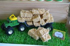 Hay bales at a John Deere tractor birthday party! See more party ideas at CatchMyParty.com!