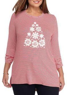 Kim Rogers  Womens Plus Long Sleeved Stripe Christmas Tree Tee