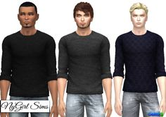 NY Girl Sims: Male Sweater 3 Pack • Sims 4 Downloads