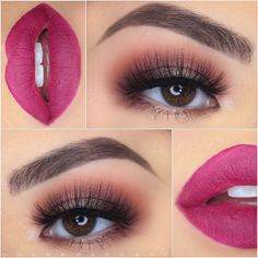 berry lip & shimmery smokey eye~ we ❤ this! moncheribridals.com #weddingmakeup