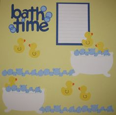 Bath Time Scrapbook Layout on Etsy Baby Girl Scrapbook, Baby Scrapbook Pages, Scrapbook Borders, Kids Scrapbook, Scrapbook Sketches, Scrapbook Page Layouts, Scrapbooking Ideas, Baby Bath Time, Baby Album
