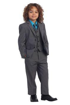 5 Piece Kids Boys Formal Charcoal Suit, Vest, Pants, Dress Shirt & StripeTie Set   Clothing, Shoes & Accessories, Kids' Clothing, Shoes & Accs, Boys' Clothing (Sizes 4 & Up)   eBay!