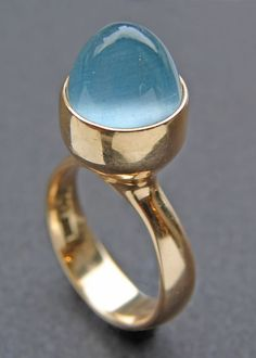Modernist Ring Gold Aquamarine - Georg Jensen, 1972  Tadema Gallery
