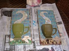 Mosaic Coffee Cups by Black Cat Bazaar, via Flickr