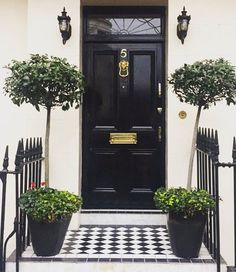 The capital of beautiful black lacquered doors #chicinLondon #london #frontdoor #architecture #thepottedboxwood