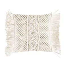 Coussin en coton macramé ivoire 45x45 | Maisons du Monde