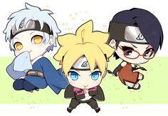 Tags: Fanart, NARUTO, PNG Conversion, Twitter, Pixiv Id 3536917, Uchiha Sarada, Uzumaki Boruto, Mitsuki (NARUTO), Boruto: Naruto the Movie, Team Konohamaru