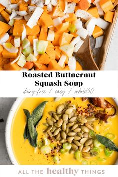 Roasted butternut squash filled with hearty veggies, flavorful herbs, and creamy coconut milk. This flavorful soup is so easy to make and the perfect cozy recipe for lunch or dinner. Dairy Free Recipes Easy, Easy Whole 30 Recipes, Healthy Soup Recipes, Lunch Recipes, Whole30 Recipes, Ww Recipes, Fall Recipes, Gluten Free, Easy Thanksgiving Recipes