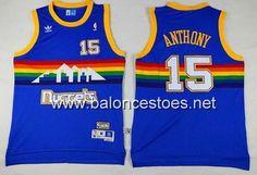 Camiseta Denver Nuggets Carmelo Anthony #15 arco iris azul €19.99