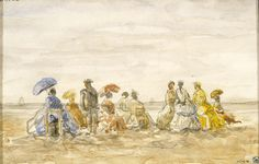 Eugène-Louis Boudin (France, 1824-1898), Figures on the Beach at Trouville, 1885, Los Angeles County Museum of Art, Gift of Dudley and Ellie Glick (M.91.268)
