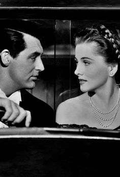 "Cary Grant and Joan Fontaine in Alfred Hitchcock's ""Suspicion"", 1941."