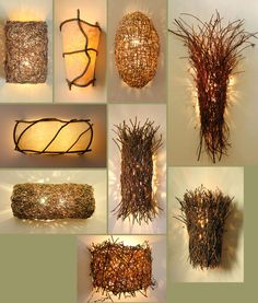 "Lighting by Birch & Willow studio -- ""Nature illuminated"" with twigs and vines"
