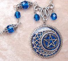 RESERVED- Blue Pentacle Necklace- Glitter, Resin, Antiqued Silver, Fantasy