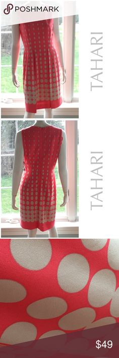 """NEW TAHARI career sheath dress coral polkadot 8 Overall length 36"""". Bust 18.5"""" across flat. Waist 15"""" across. Fully lined. 95% polyester, 5% spandex. Polyester lining shell. Nice career dress in coral with creamy polka dots. New with tags. Retail $138 Tahari Dresses Midi"""