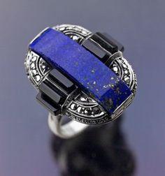 THEODOR FAHRNER  Art Deco Ring   Silver Lapis Onyx Marcasite  German, c.1929
