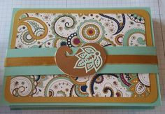Stampin' Up! Paisley and Petals DSP, Copper Foil sheets, Mint Macaron, Card Holder, Delightful Dijon