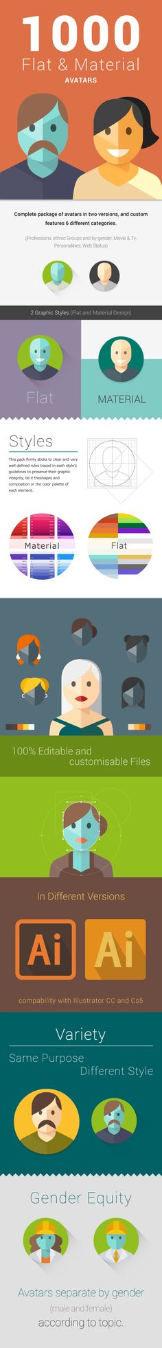 1000 Flat Characters And Material Design Avatars