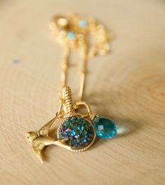 Our Love Bird Druzy Necklace Handcrafted by Bare and by BareandMe