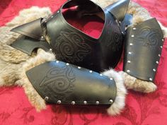Celtic Wolf Gorget/Pauldron Leather Armor by ChaosCostumes on Etsy