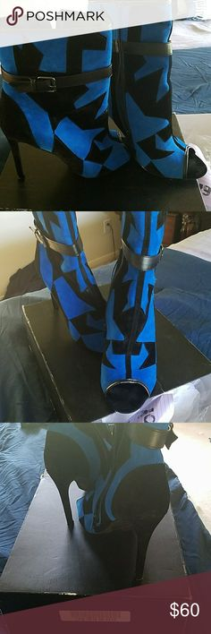Brand new hot classy booties Popping color to any outfit booties. Never worn 4 inch heels. scene Shoes Ankle Boots & Booties