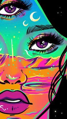 Trippy Drawings, Psychedelic Drawings, Art Drawings, Hippie Painting, Trippy Painting, Arte Alien, Alien Art, Small Canvas Art, Diy Canvas Art