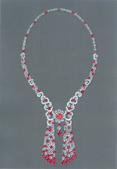 This necklace made from pear-shaped, round and marquise Burmese rubies and white diamonds showcases a stunning floral centerpiece. Photo courtesy Graff Diamonds.