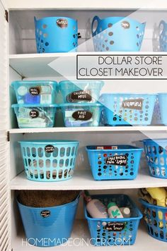 Hall Closet Makeover 27 Trendy Bath Room Closet Organization Dollar Stores Plastic Bins Your T Dollar Store Hacks, Dollar Store Crafts, Dollar Stores, Dollar Store Bins, Dollar Dollar, Dollar Items, Linen Closet Organization, Storage Organization, Organizing Ideas