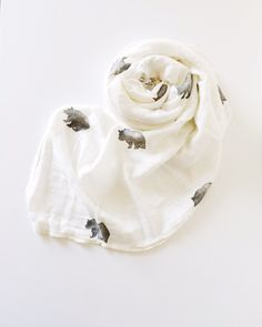 Organic Muslin Swaddle Blanket, Hand Stamped Organic Cotton and Bamboo Muslin Swaddle in Bruno the Bear; Muslin Blanket/ Organic Muslin Swad by FlamingoBaby on Etsy https://www.etsy.com/listing/232237518/organic-muslin-swaddle-blanket-hand