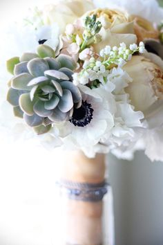 white anemone and succlents | ... , Peach Stock, White Sweet Peas, White Anemones, and Succulents